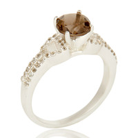 Smoky Quartz And White Topaz Solitaire Ring Made In sterling Silver