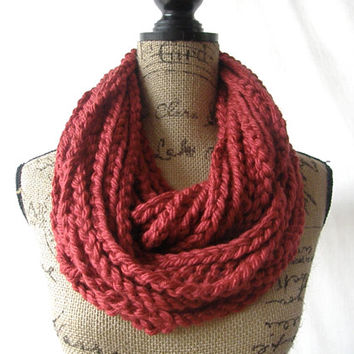 Ready To Ship Large Cranberry Dark Red Chunky Scarf Fall Winter Women's Accessory Chain Infinity