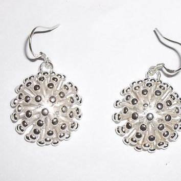 "Statement Spiky Half Globe Silver 1"" Drop Earrings"