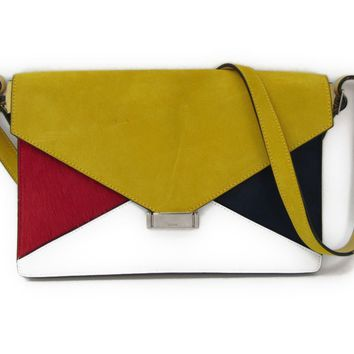 Celine Diamond 170933 Women's Leather Shoulder Bag Navy,Yellow,Red BF312149