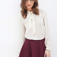 FOREVER 21 Striped Tie-Neck Blouse