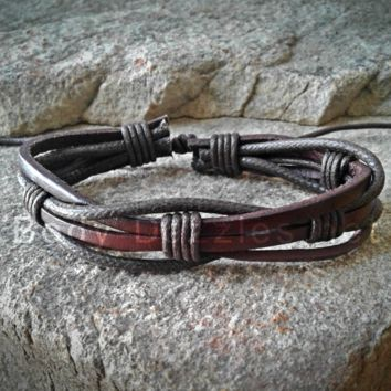 Brown Adjustable Unisex Leather Weave Wrap Bracelets