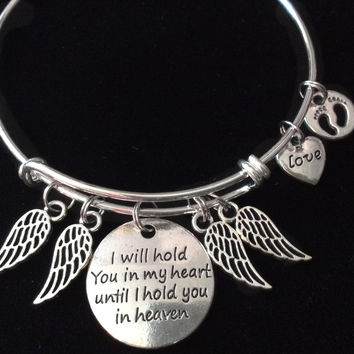 Angel Wings I will Hold you in my Heart Until I can Hold you in Heaven Silver Expandable Charm Bracelet Adjustable Bangle Baby Memorial Gift Infant Loss
