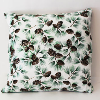 Ready to Ship - Silver Sparkle Green Pine Cones Decorative Pillow Case Cover Size 14x14 Solid Green Back