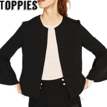 2017 Women Black Color Blazers Bell Sleeves Vintage Jackets and Blazers Retro Black Coat blazer feminino