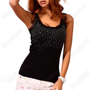DCK9M2 Sexy Women's Rhinestone Lace Stunning Based Sleeveless Vest Tank Top Tee T-Shirt Black White Free Shipping 02XH