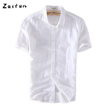 f45d7ba91a59 ZAITUN White Men Casual Cotton Linen Shirt Men Summer Short Sleeve Dress  Shirts Camisa Masculina Casual
