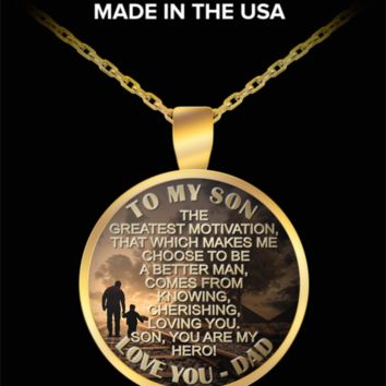 To My Son, My Hero - Love Dad pendant necklace