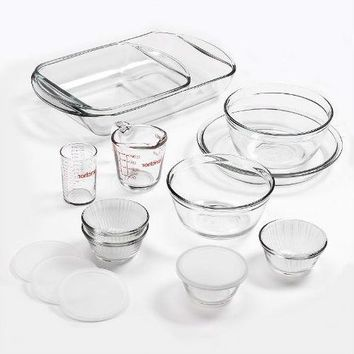 15-Piece Glass Bakeware Set with Food Storage Bowls and Lids