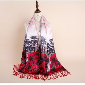 2018 Double Sided Long Satin Silk Scarf Poncho