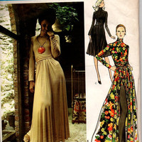 Vogue Couturier Designer 70s Sewing Pattern 2646 Jean Muir Evening Dress Cumberbund Waist Peek-a-boo Shorts Back Button High Neck Sexy Disco