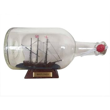 Mayflower Model Ship in a Glass Bottle  9""