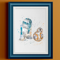 Watercolor Star Wars R2-D2 BB-8 Home Print | 8 x 10 | Wall Decor