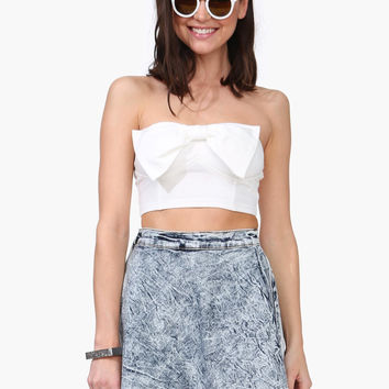 Strapless Bow Front Crop Tank Top