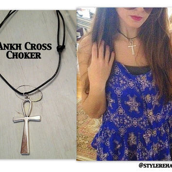 Ankh Cross Choker. Coachella. Leather. Festival Style.  Layer with crystal necklaces. Bohemian, gypsy, grunge, hipster