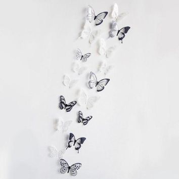 LMFYN5 2015 new 18 Pieces 3D Butterfly Decor Wall Sticker Home Wall Decals