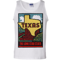 Vintage State Sticker Texas Asst Colors Tank Top