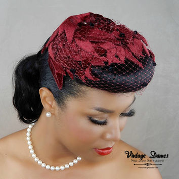 MADE TO ORDER- Velvet Calot, Dotted Birdcage Veil, Custom Cap, Velvet Hat, Bridal Headpiece, Mother of the Bride