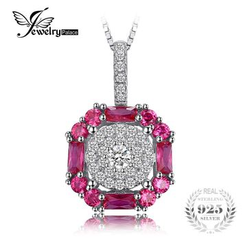 JewelryPalace Fashion 1.26ct Created Red Ruby Halo Pendant Necklace For Women 925 Sterling Silver 45cm Box Chain Vintage Jewelry