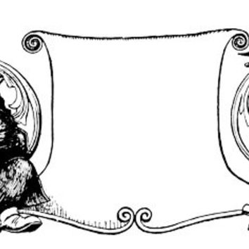 bear fox scroll animal clip art frame banner stamp png file Digital Image Download to make Pillows Totes Towels t-shirts CARDS ETC