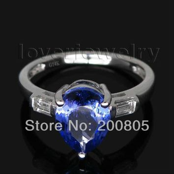 Vintage Pear 7x9mm Solid 14Kt White Gold Tanzanite Ring,Natural Baguette Diamond Tanzanite Ring 585 White Gold For Sale