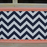 Cork board upcycled with navy chevron and peach accents wall hanging girls bedroom decor trend navy decor