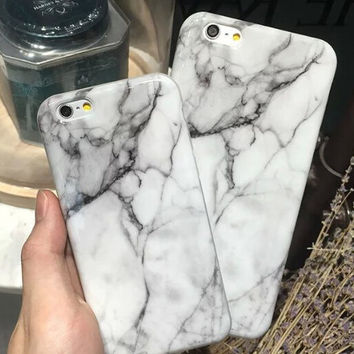 Unique White Marble Stone Case for iPhone 7 5s se 6 6s Plus + Gift Box