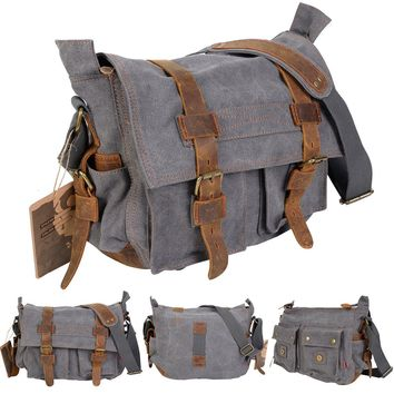 Men's Vintage Canvas Leather School Military Shoulder Messenger Bag Gray