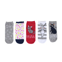Sailor Moon Cats No-Show Socks 5 Pair