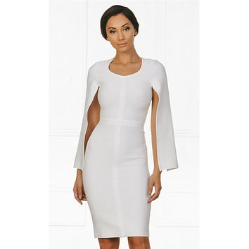 Indie XO Midnight Scandal White Long Slit Sleeve Scoop Neck Bandage Bodycon Cape Midi Dress