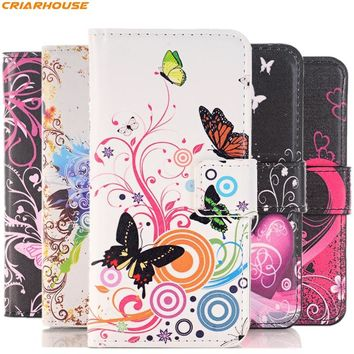 For Apple iPhone 8 7 6s Plus SE 5 5S 5C 4 4S PU leather phone case pattern flower butterfly Flag Painted cover flip wallet style