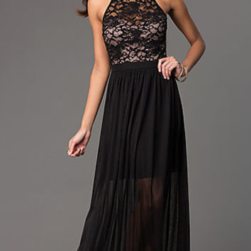 High-Neck Sheer Lace-Bodice Long Formal Dress