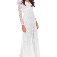 White V-neck Long Sleeve Lace Maxi Dress
