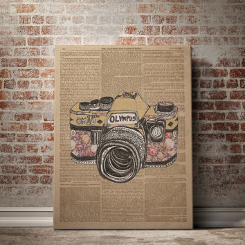 CAMERA Art Print on Dictionary Book Page Original Vintage Antique Old Illustration Drawing Vintage Newspaper Dictionary Print PRINTABLE ART