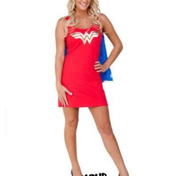 Wonder Woman Symbol Licensed Sleep Tank With Cape DC Comics Sleep shirt