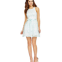 B. Darlin Sleeveless Embroidered Overlay Party Dress - Mint/Silver