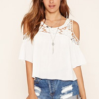 Crochet-Yoke Open-Shoulder Top