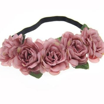 DKLW8 Fabric Lotus Flower Headbands for Woman Girls Hair Accessories Bridal Wedding Flower Crown Headband Forehead Hair Band
