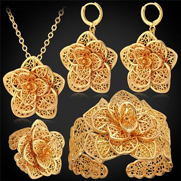 Big Flower Wedding Jewelry Cuff Bracelet Ring Earrings Necklace Set Women Gift Bridal Yellow Gold Color Jewelry Sets PEHR483