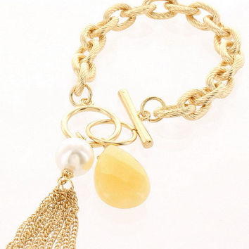 Textured Chain Bracelet with Teardrop Stone & Tassel - Gold/Yellow, Gold/Peach or Gold/Turquoise