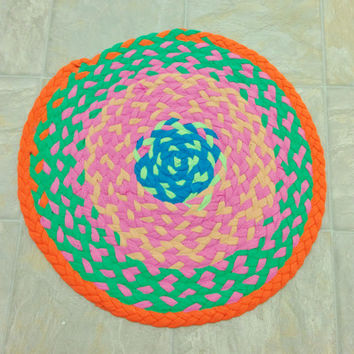 Clearance price! Funky & Bright Neon Braided Rug Up-cycled Tshirt Round Rug 18 inches