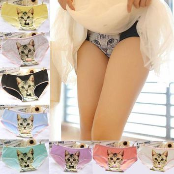 ONETOW 2016 Fashion Women Hot Sale Cotton Women Panties 3D Printed Cat Briefs Underwear for Gift Free Shipping