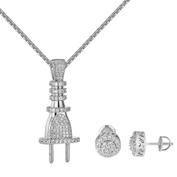 Switch Plug Pendant Simulated Diamonds Free Necklace Cluster Halo Earrings Studs