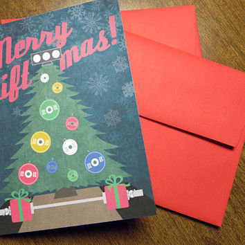 Weightlifting Christmas Cards 5 or 10-Pack - Merry Liftmas Platform Crossfit Ornament - Fitness Barbell Powerlifting Holiday Greeting Card