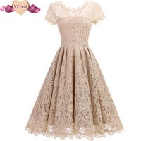 2017 Vintage Tunic Lace Dress Female Robe Casual 1950s Rockabilly Short Cap Sleeve V-Back Swing Summer Dresses Vestido de festa