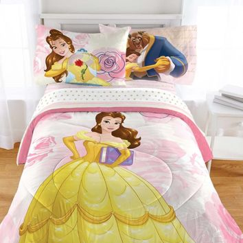 Disney Beauty and the Beast Bedding Set Enchanted Belle Comforter and Sheet Set