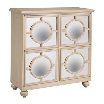 Mirage Convex Mirrors Cabinet In Ivory