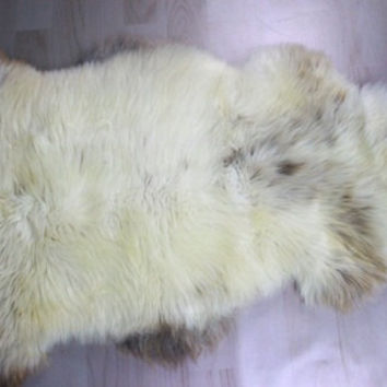 Genuine Beautiful Natural HERDWICK, rare, unique Sheepskin Rug, Pelt, soft, thick,  long fur XL LARGE