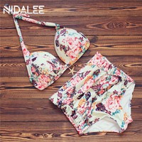 Bikini High Waist Bikini Set Printed Swimwear Female Swimsuit Bikinis Women Bathing Suits