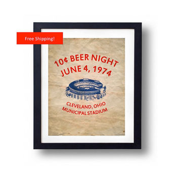 Vintage 10 Cent Beer Night Cleveland Ohio Indians vs Rangers Baseball History Collectible Print Poster Gift for Him and Man Cave